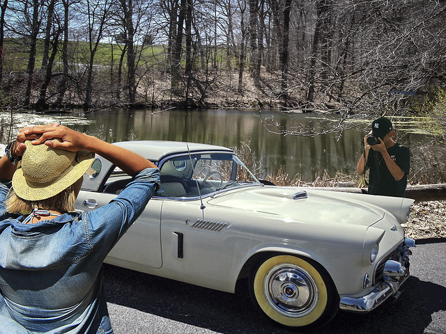 Photo stop on the road past the lake.  The car is a Thunderbird. The lake is in Schoharie County Upstate New York