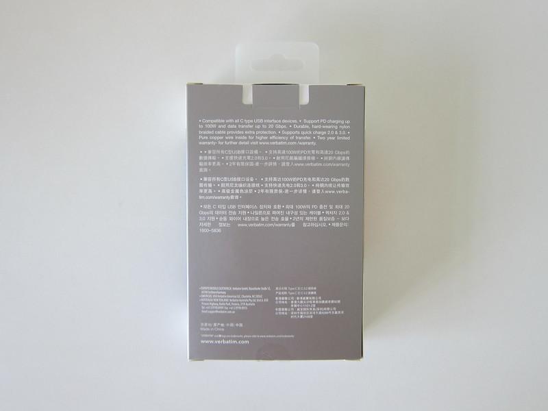 Verbatim Sync & Charge USB-C Cable - Box Back