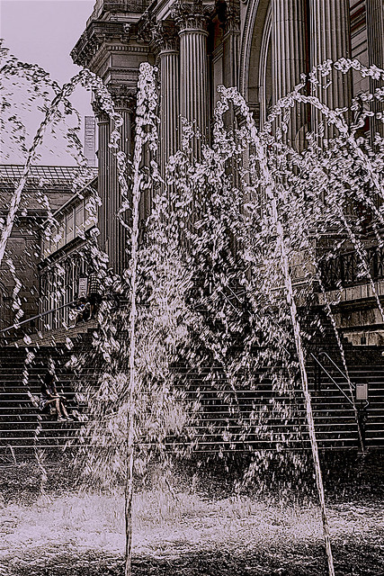"""Keeping """"cool"""" by the Fountain outside the Met Museum on Fifth Avenue NYC"""