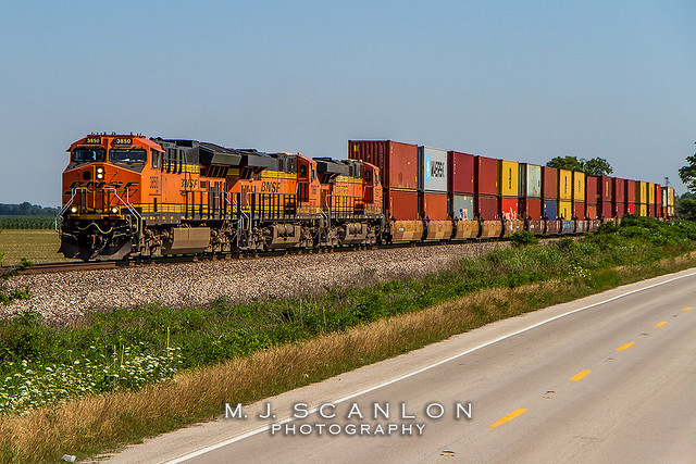 BNSF 3850   GE ET44C4   BNSF Thayer South Subdivision