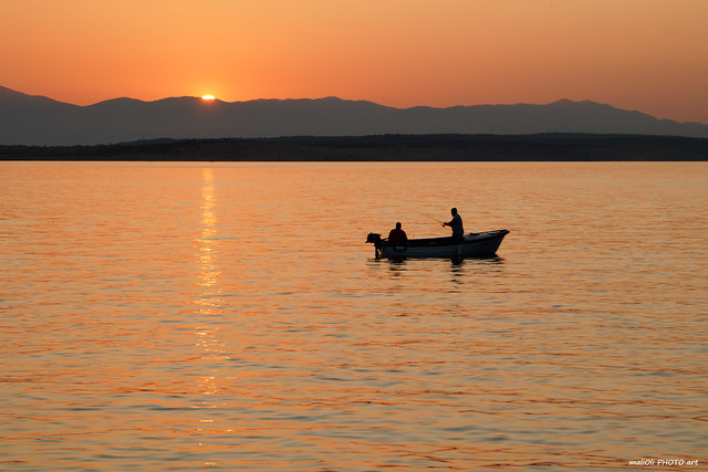 Fishing with the last rays of the sun