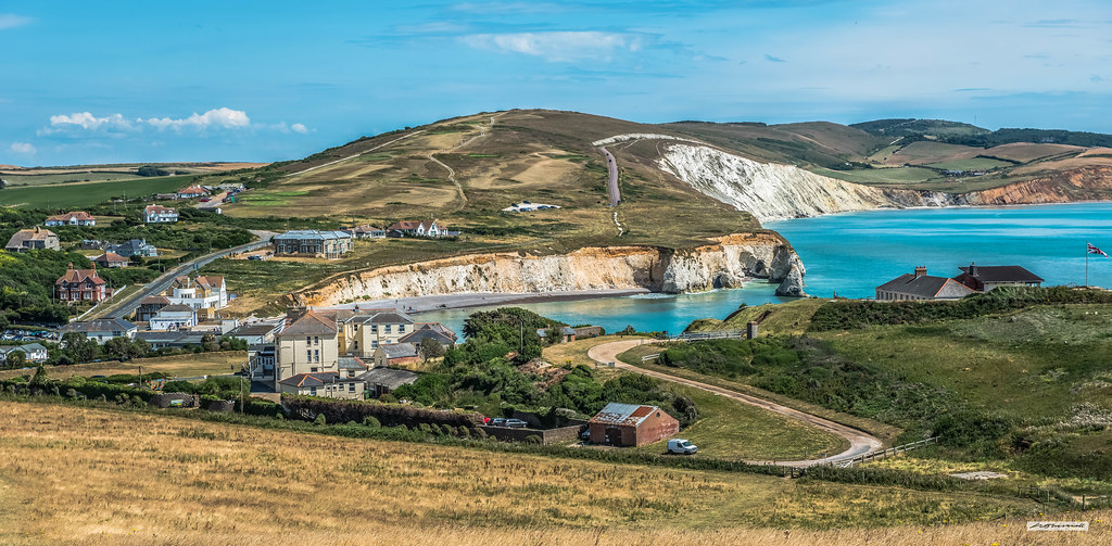 Freshwater Bay from Tennyson Down, Isle of Wight, England.