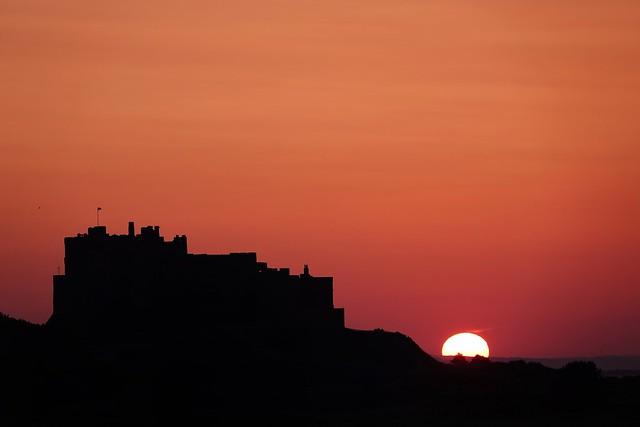 The sun sets behind Bamburgh Castle!