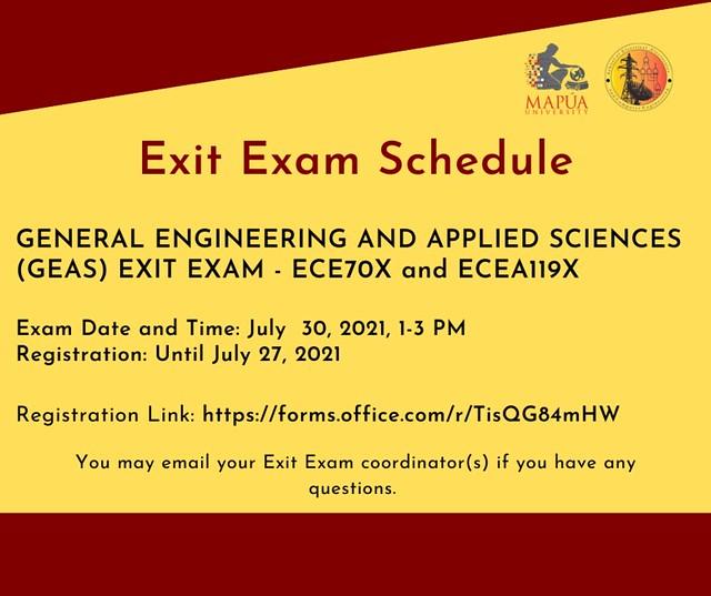 Exit Exams: ECE70X and ECEA119X