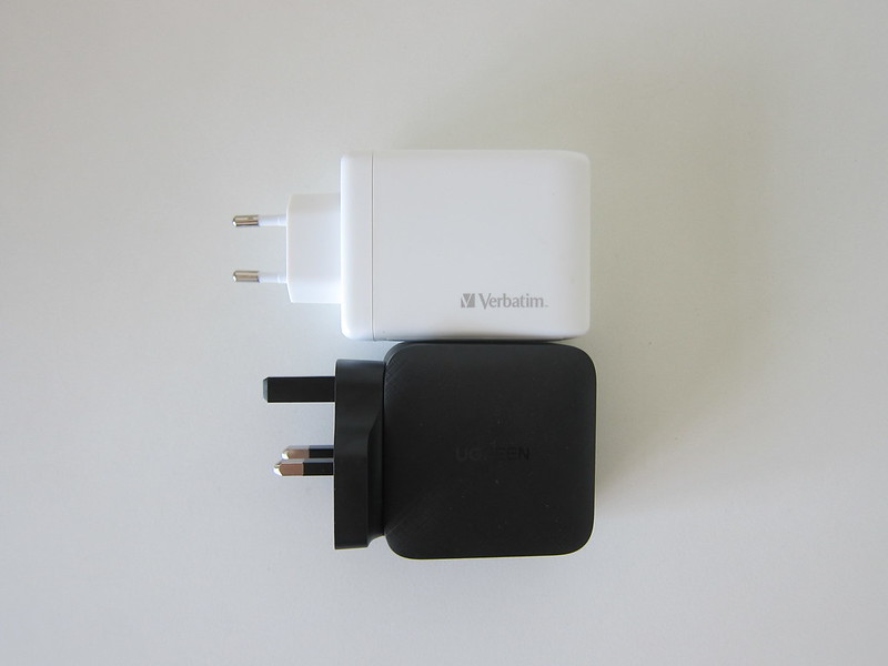 Verbatim 4-Port PD 100W Charger vs Ugreen 65W GaN Triple USB-C Plus USB-A Charger