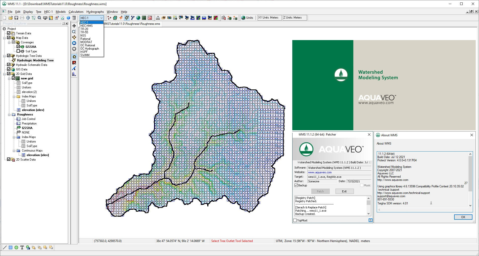 Working with Aquaveo Watershed Modeling System (WMS) 11.1.2 full