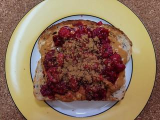Peanut Butter Raspberry Cinnamon Toast