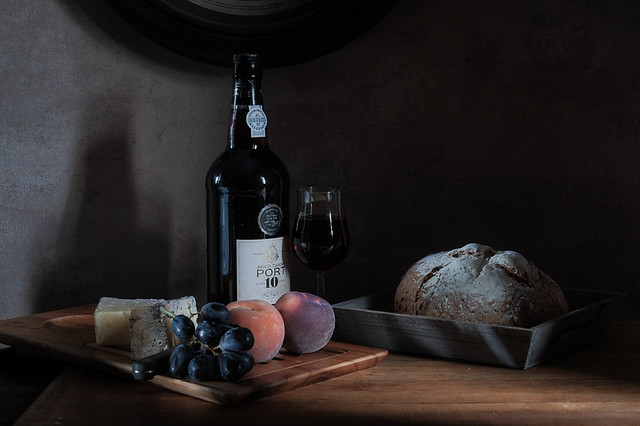 Bread and cheese with port.
