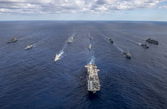 CORAL SEA (July 22, 2021) (From left) USNS Rappahannock (T-AO 204), ROKS Wand Geon (DD 978), HMAS Parramatta (FFH 154), USS America (LHA 6), USS Rafael Peralta (DDG 115), USS JS Makinami (DD 112), USNS Alan Shepard (T-AKE 3), (center) HMCS Calgary (FFH 335), (back) USS New Orleans (LPD 18), HMAS Brisbane (DDG 41), and USS Germantown (LSD 42) steam in formation during Talisman Sabre (TS) 21. This is the ninth iteration of Talisman Sabre, a large-scale, bilateral military exercise between Australia and the U.S. involving more than 17,000 participants from seven nations. The month-long multi-domain exercise consists of a series of training events that reinforce the strong U.S./Australian alliance and demonstrate the U.S. Military's unwavering commitment to a free and open Indo-Pacific. (U.S. Navy photo by Mass Communication Specialist 3rd Class Daniel Serianni)