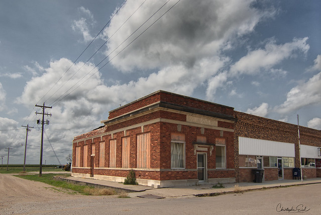 Old bank and clouds.