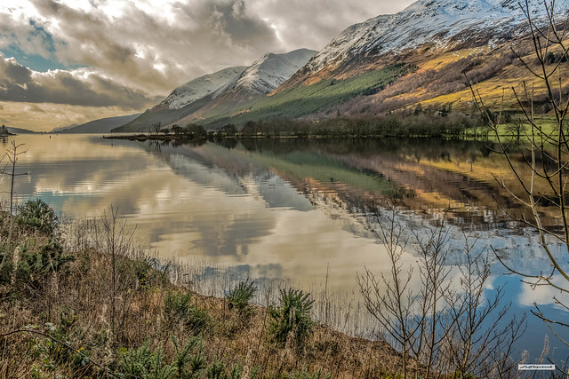 The lustrous beauty of Ceann Loch and Loch Lochy in the Great Glen, late winter, Inverness-shire, Scotland.