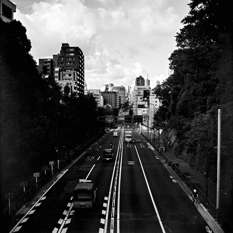 08Rolleiflex 2 8f+Fujifilm ACROSⅡ100雑司ヶ谷三丁目千渡世橋から臨む明治通り