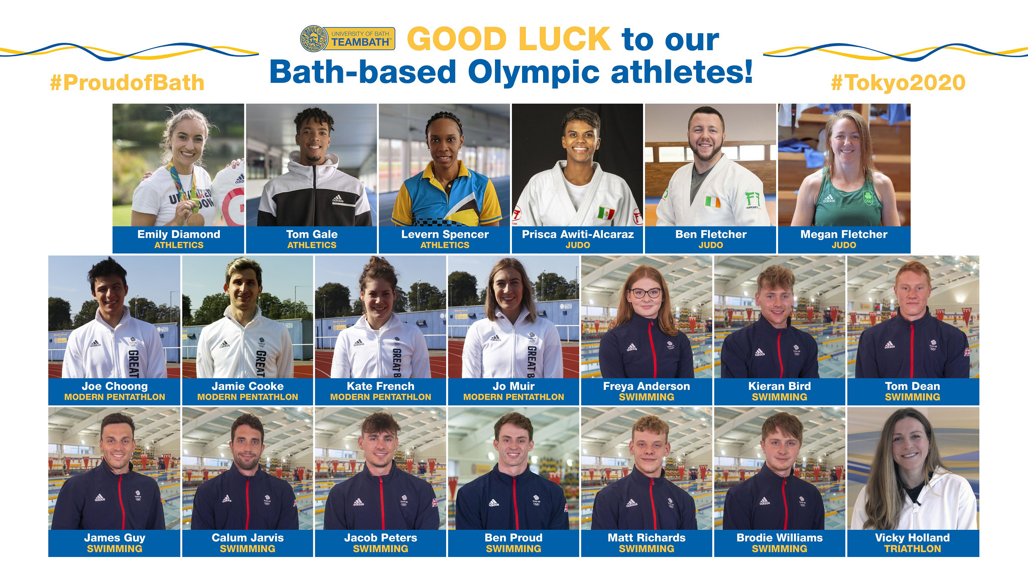 A montage of the 20 University of Bath-based athletes competing at the Tokyo 2020 Olympic Games