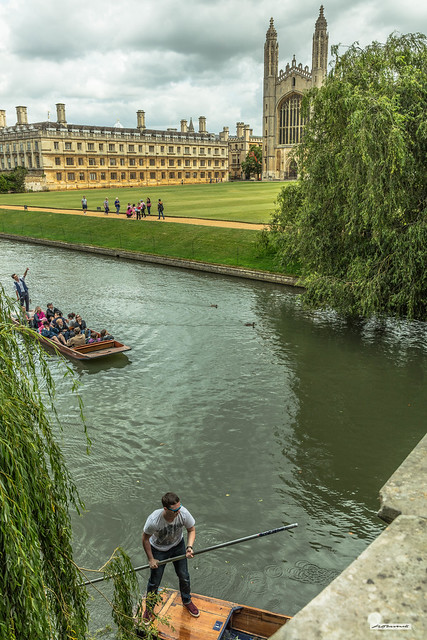 River Cam, Cambridge, by King's College Chapel in high summer. Punting on the Cam, under bridges and near the Weeping Willows.