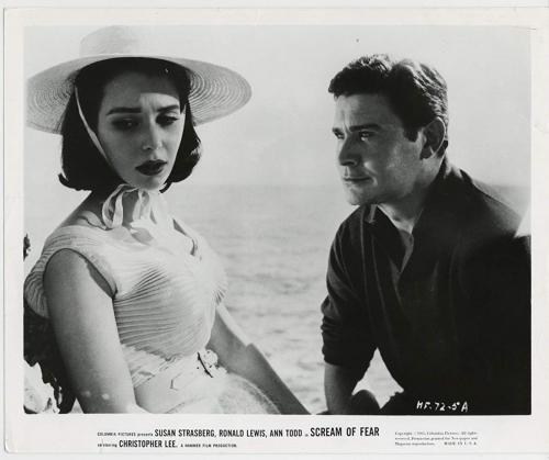 Susan Strasberg, Ronald Lewis dans Hurler de peur (Taste of Fear / Scream of Fear, Seth Holt, 1961)