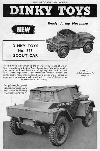 Meccano Magazine November 1953 the first of the 'new' range of military vehicles