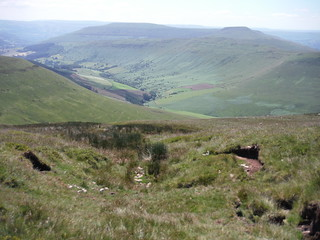 Across Grwyne Fechan Valley to Three Pens, from path from Waun Fach SWC Walk 333 - Crickhowell Circular (via Table Mountain and the Three Pens) [Long Route via Waun Fach and Pen y Gadair Fawr]