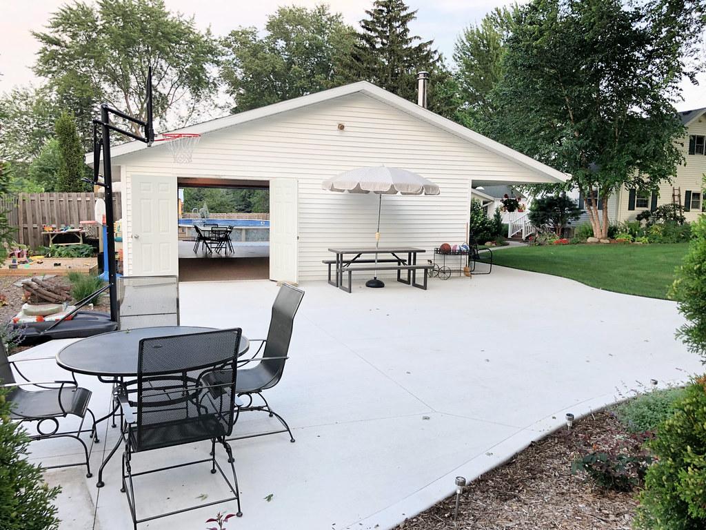 patio and sandbox area