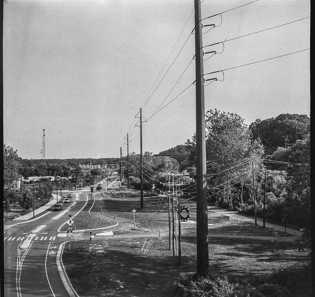 urban landscape, powerlines, curvilinear street movements, late light, Asheville, NC, Welta Weltur, Fomapan 200, HC-110 developer, 7.7.21
