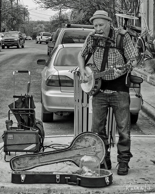 One Man Band On S. Congress Ave., Austin, Texas