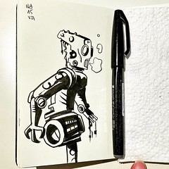 It's lunchtime,it's time to sketch something #mtl #montreal #ink #sketch #doodle #dailysketch #drawing #draw #artistoninstagram #arts #artist #vty_2021 #illustrations #illustration #comics #comix #bandedessinee #scifi #moleskine