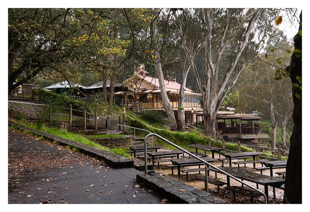 Fairfield Park Boathouse and Tea Gardens on a rainy winter's day