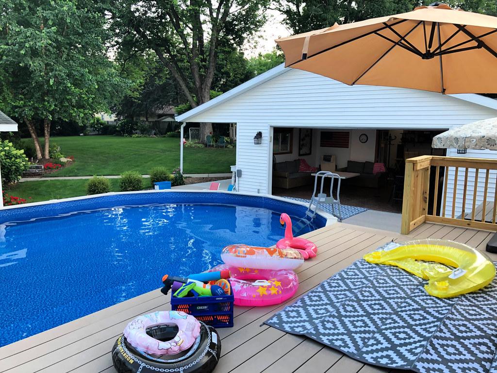 pool deck and backyard