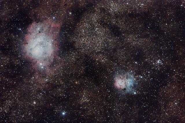 Lagoon and Triffid nebulae