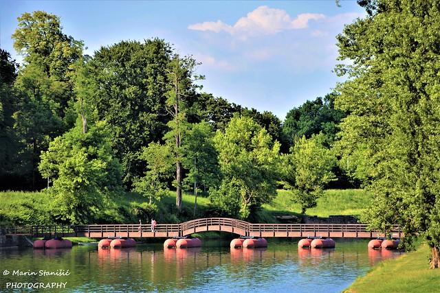 Pedestrian wooden bridge over river Korana in Karlovac