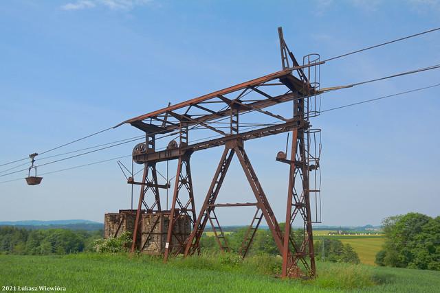 Przemysłowa kolej linowa - stacja napinająca. | Industrial cable railway, the tensioning station.