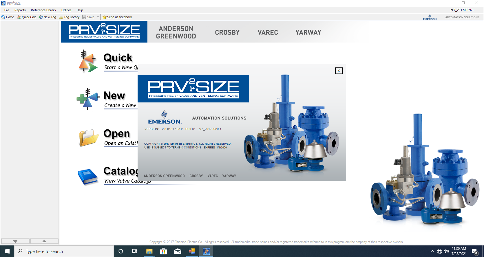 Working with Emerson PRV2SIZE v2.8.6481 full license