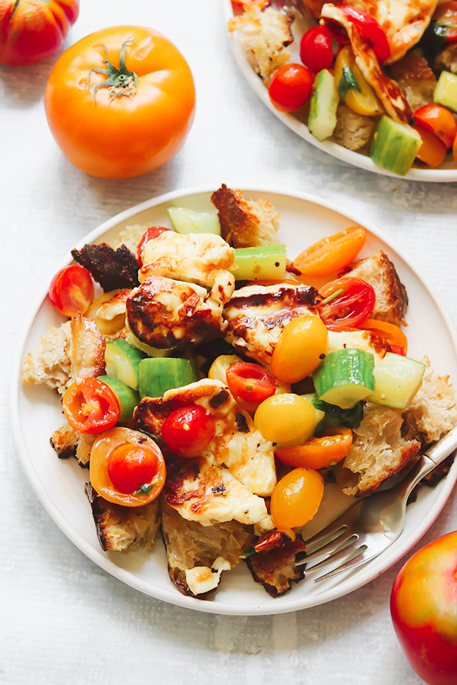 Cucumber-Tomato Salad with Seared Halloumi and Olive Oil Croutons