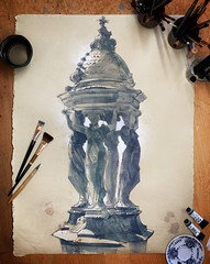 Wallace fountain, Paris - watercolor on paper