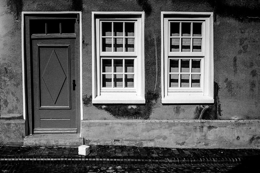 a door. two windows.