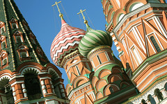Holy Russia, Moscow, fragment of Saint Basil's Cathedral with the Bell Tower (Pokrovsky Sobor) - Cathedral of the Protection of Most Holy Theotokos on the Moat, Red Square & Vasilyevsky Descent Square, Tverskoy district. Православнаѧ Црковь.