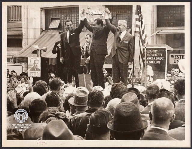 Richard Nixon with Cecil Underwood and Arch Moore, 12th Street (in front of the German Bank Building), 1964