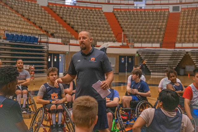 Robb Taylor speaks to camp participants.