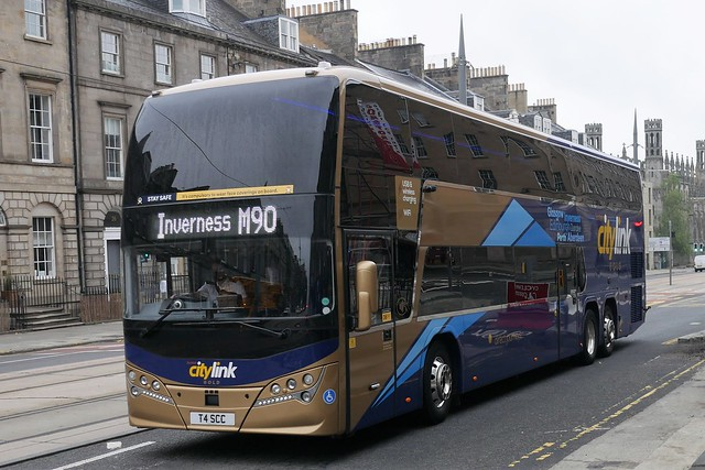 Parks of Hamilton Volvo B11RLET Plaxton Panorama T4SCC, new in October 2020, in Citylink Gold livery, operating service M90 to Inverness at York Place, Edinburgh, on 22 July 2021.