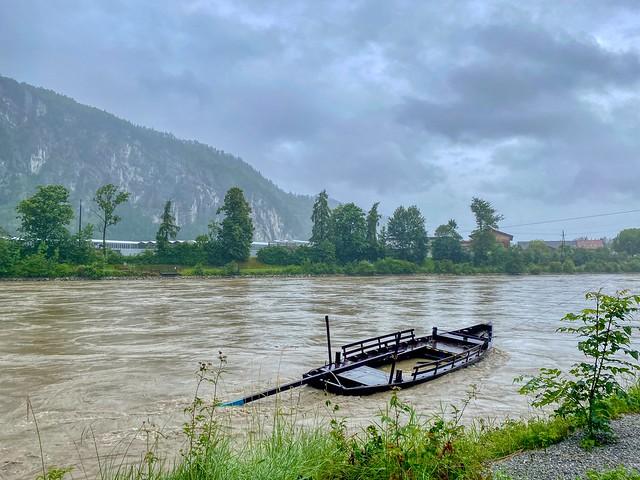 Sinking ferry boat in the river Inn in Kiefersfelden in Bavaria, Germany