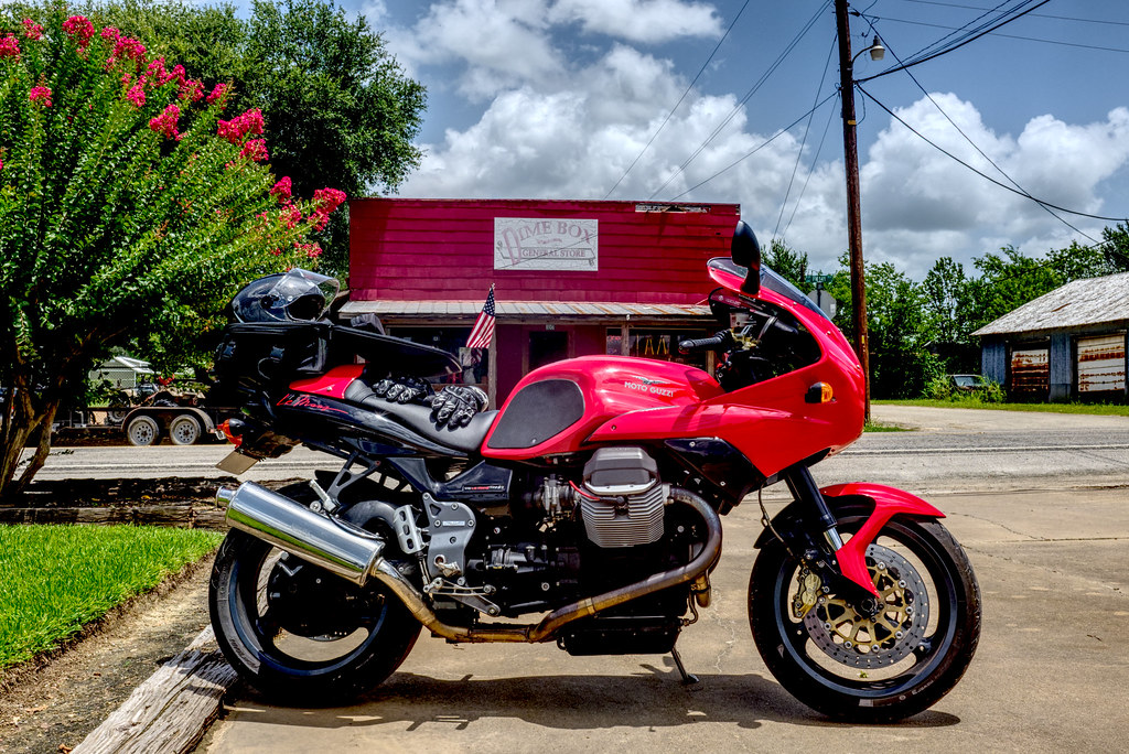 Guzzi in front of Dime Box General Store
