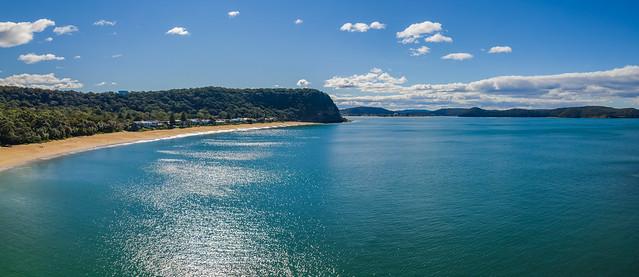 Morning aerial seascape panorama
