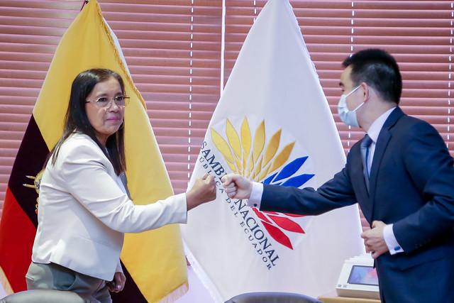 PRESIDENTA DE LA ASAMBLEA NACIONAL, GUADALUPE LLORI RECIBE A FAN YANPING, GERENTE GENERAL DE HUAWEI - ECUADOR. ECUADOR, 23 DE JULIO DEL 2021