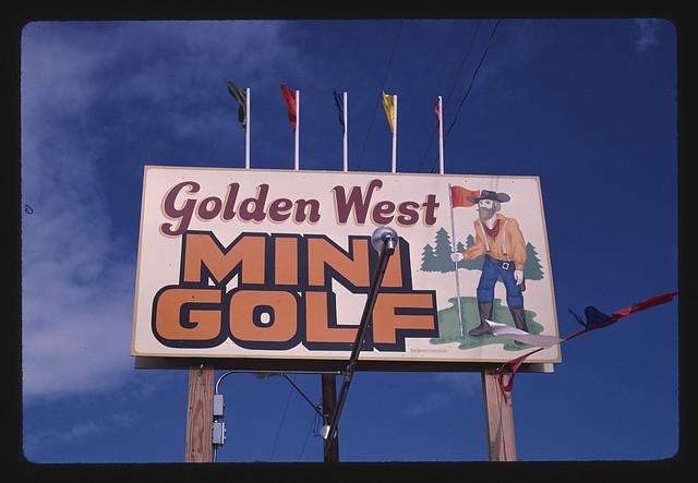 Sign, Golden West mini golf, Hill City, South Dakota (LOC)