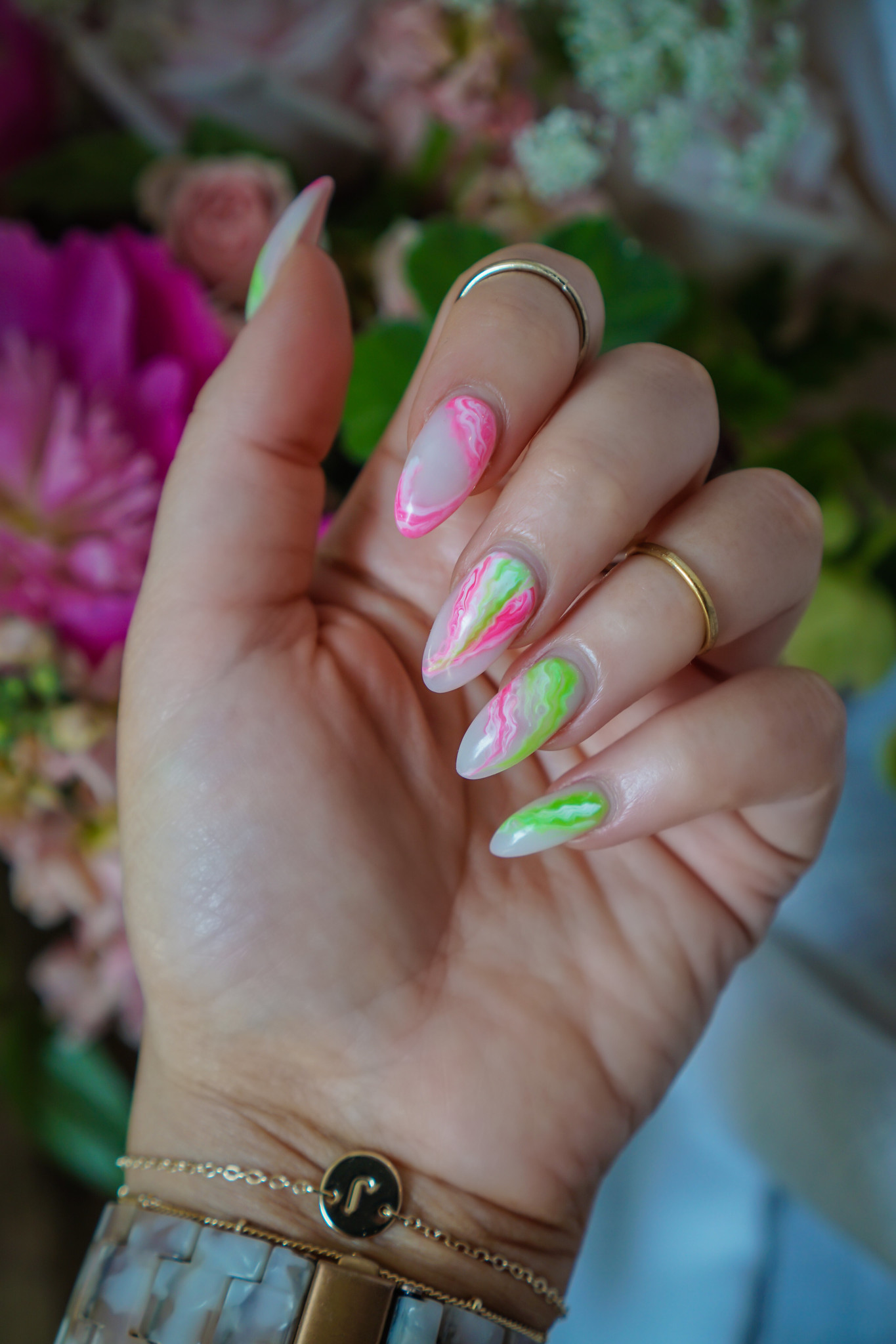 Pink & Green Marble Nails: Manicure of the Month   Summer Nails   Vacation Nails   Manicure Ideas   2021 Nail Ideas   Nail Art   Almond Nails   Acrylic Nails   Neon Nails   Acrylic Nails