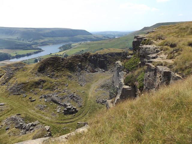 Torside Reservoir from Crowden Great Quarry, Derbyshire, 20 July 2021