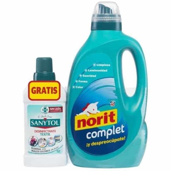 Norit detergente Diario Complet 2 Litros 40 Lavados + Sanytol desinfectante Textil sin lejía 500 ml GRATIS