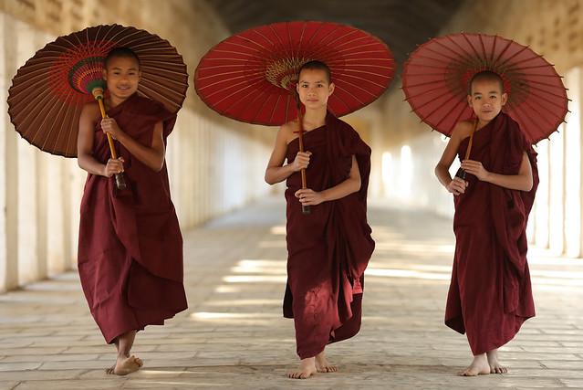 Myanmar (Burma), Buddhist novices in Bagan