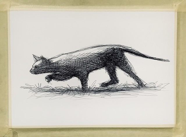Neighbour's Cat Hunting Flies on the Lawn. Ballpoint pen only drawing by jmsw on card.