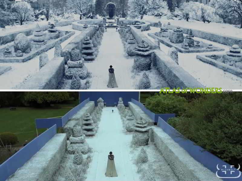 The castle snowed garden