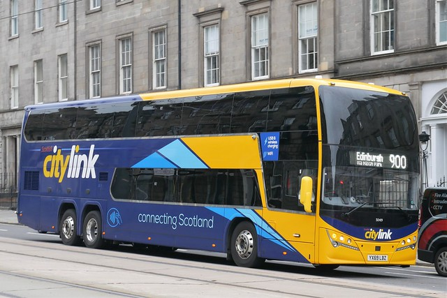Stagecoach West of Scotland Volvo B11RLET Plaxton Panorama YX69LBZ 50419, new in January 2020, in generic Citylink branding, operating service 900 to Edinburgh at York Place, Edinburgh, on 22 July 2021.